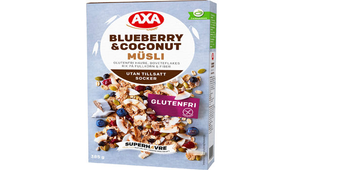 Blueberry & Coconut Müsli: Dette er en sunn og god frokostblanding helt uten tilsatt sukker. Frokostblandingen fra Axa består av glutenfri havre og bokhveteflak og er rik på fullkorn og fiber.