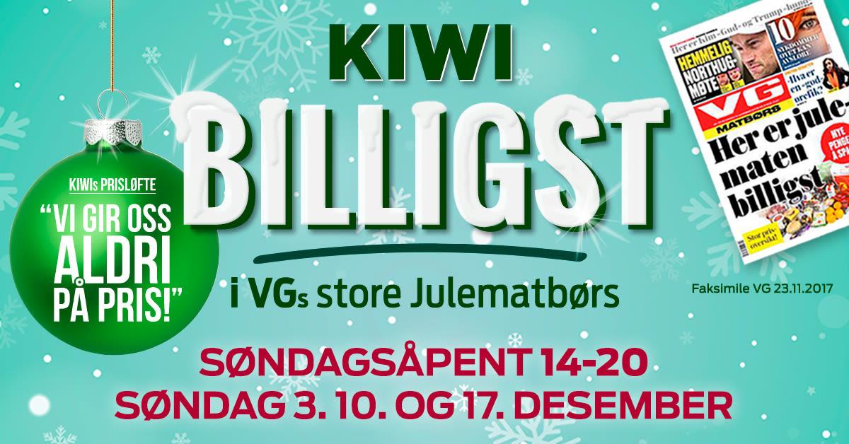 Alle våre 654 KIWI-butikker er åpne de tre søndagene før jul. Sjekk din lokale butikk for åpningstidene i hele desember.