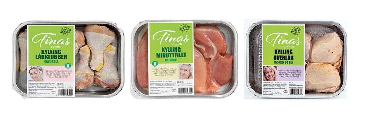 Kylling-produkter fra Tinas sommer.