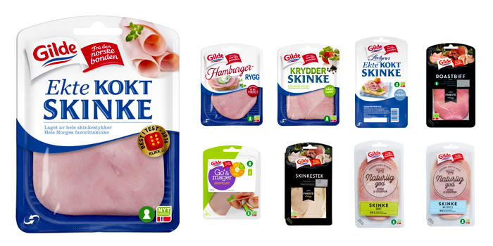 Et utvalg av nøkkelhullsmerkede kjøttpålegg fra Gilde og Prior i KIWIs butikker.