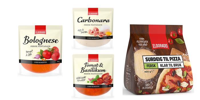 Eldorado fersk pastasaus er basert på de aller beste råvarer. Den kommer i tre varianter: Tomat & Basilikum, Bolognese og Carbonara. En annen nyhet er fersk pizzabunn av surdeig.