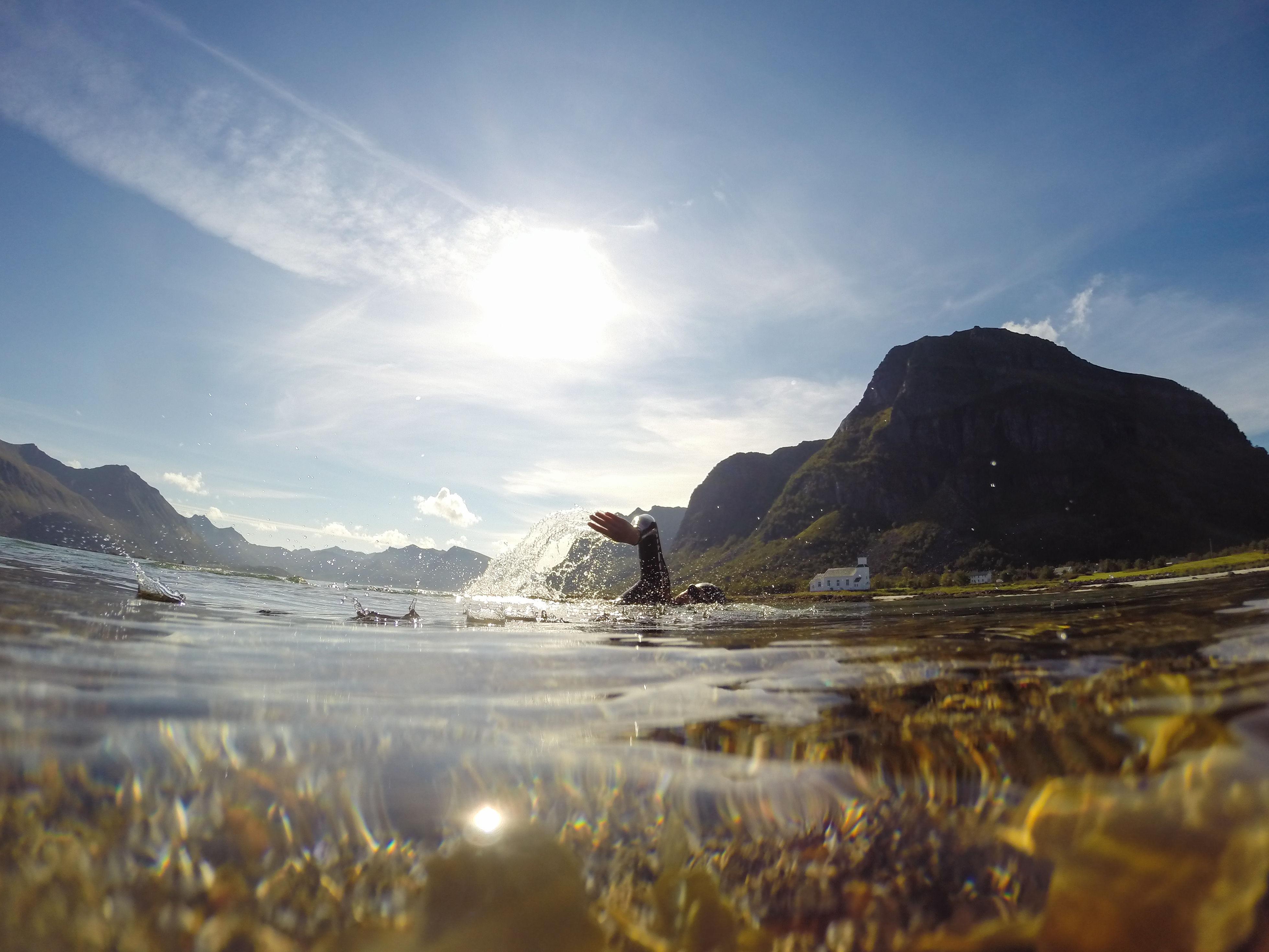 Ingen hai i sikte! Lofoten er like vakker under som over vann. På svømmetur tar jeg gjerne pauser på holmer og skjær. Ofte får jeg selskap av nysgjerrige måker, eller kanskje en overrasket skarv.