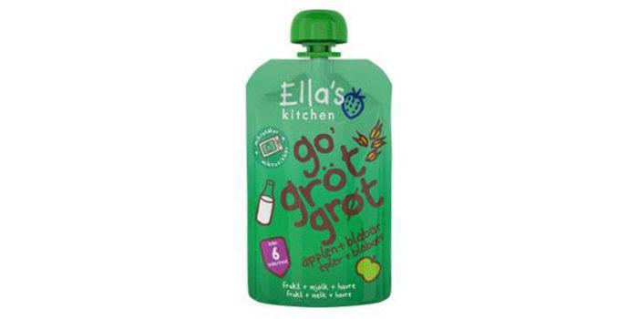 Go`grøt: Dette er nyheten for deg med små barn. Ella`s kitchen tilbyr nå ordentlig grøt på pose med smak av eple og blåbær. Kjempeenkel å ta med seg i stellebagen, og passer for barn fra seks måneder.