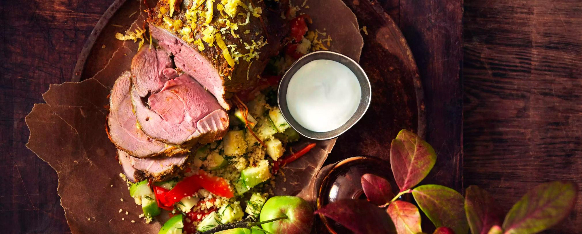 Hva med en sitronstekt lammestek der du bytter ut yoghurt med Skyr?