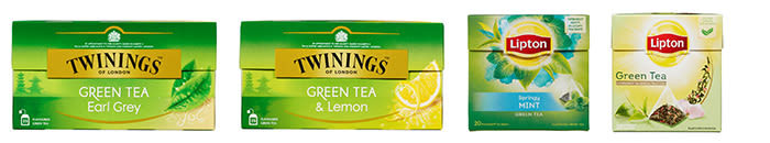 Twinings Earl Grey Grønn te, Twinings Grønn te Sitron, Lipton Green Tea Mint, Lipton Green Tea Pyramide