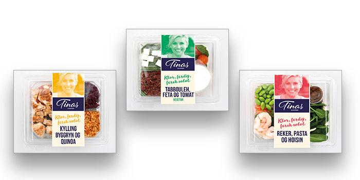 Er det Tinas måltidssalat med kylling, vegetar eller reker som blir din favoritt?