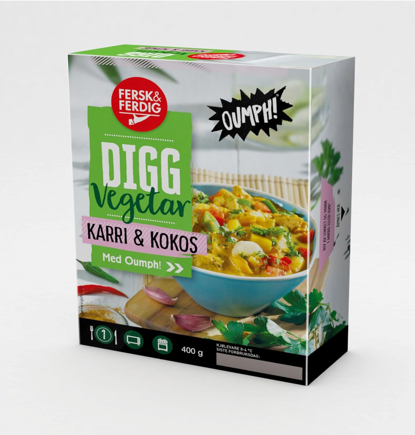 Digg Vegetar Karri & Kokos med Oumph! har deilige smaker fra det asiatiske kjøkken og masse grønnsaker slik en god karri skal ha. I tillegg inneholder retten proteinkilden Oumph! som er mat fra planteriket, laget av soyabønner. Karri & Kokos med Oumph! er helt uten animalske råvarer og kan derfor også nytes av veganere.