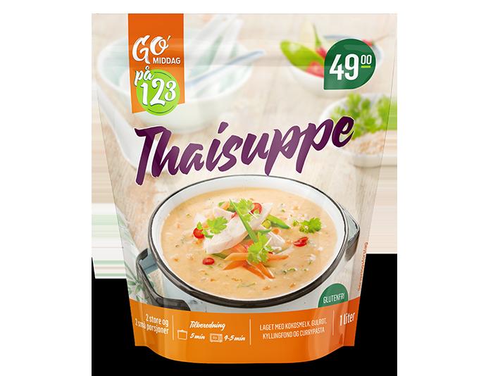 GO'middag 1,2,3 thaisuppe til 49,90 kr hos KIWI.