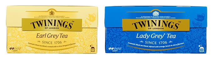 Twinings Earl Grey og Lady Grey te.
