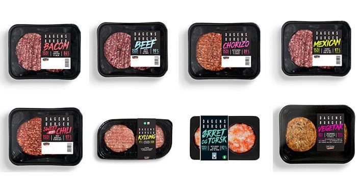 Disse ferske burgerne kan du velge mellom: Bacon-burger, Beef-burger, Chorizo-burger, Mexican-burger, Sweet chili-burger, kyllingburger, ørret og torsk-burger og vegetarburger.