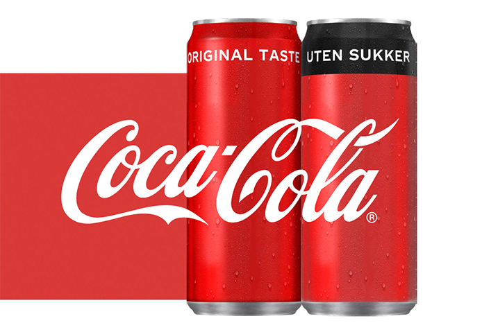 Slik er det nye designet på boksene med Coca-Cola Original taste og Coca-Cola uten sukker.