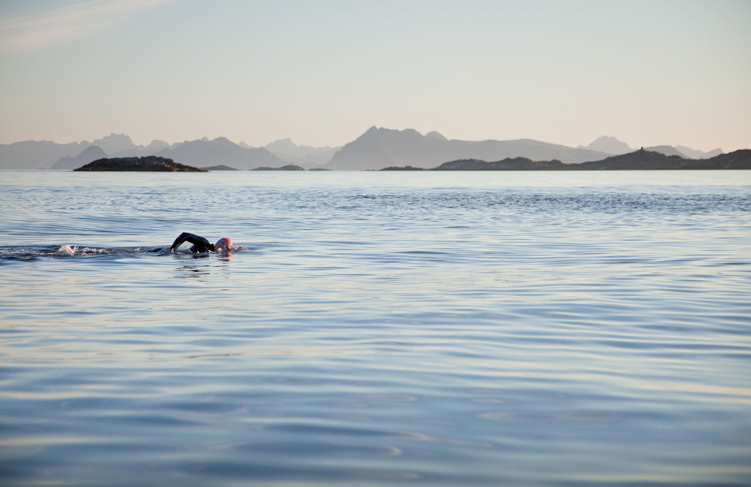 Vestfjorden må være verdens vakreste svømmebasseng! Foto: Fredrik Ödman