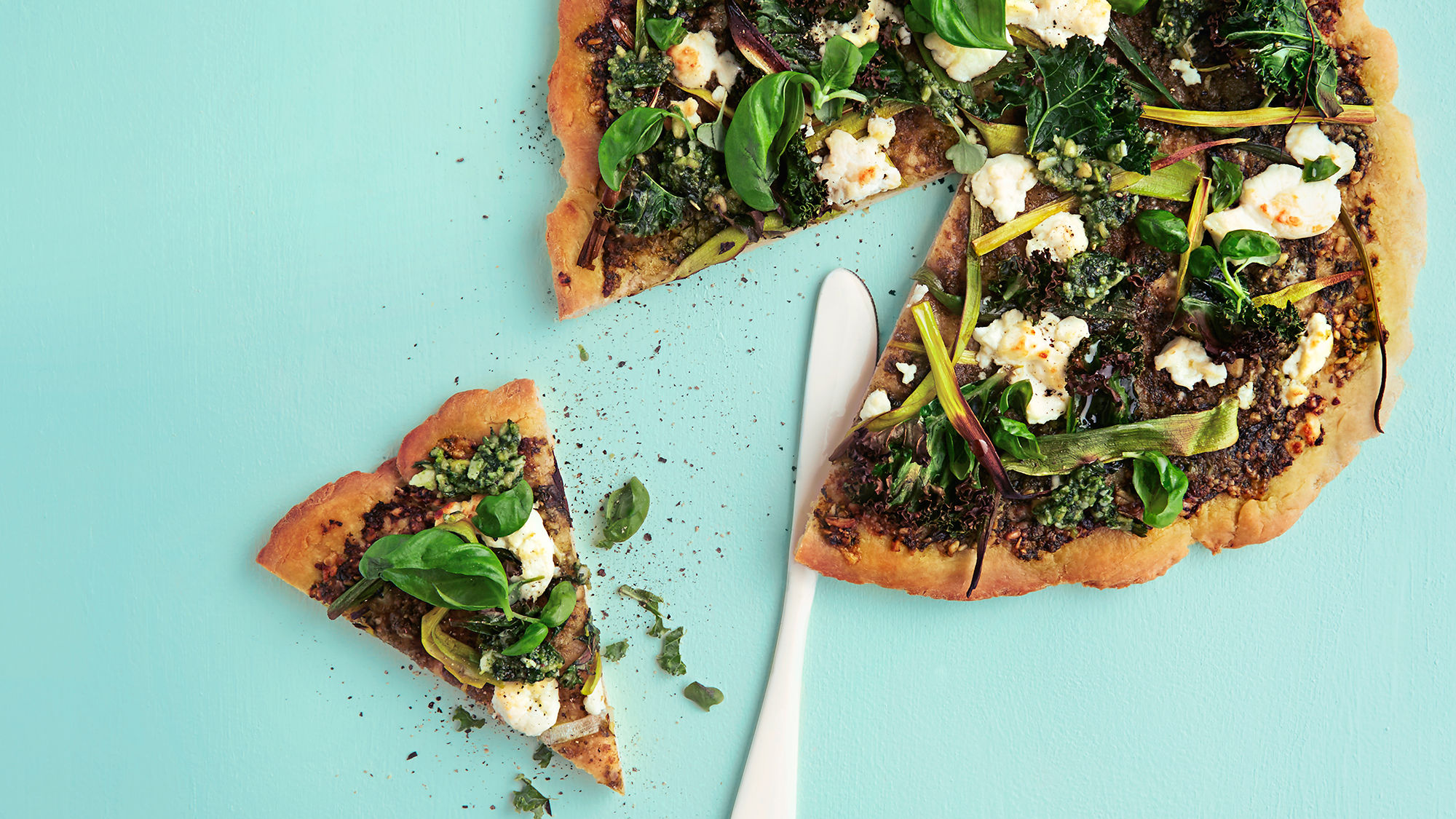Prøv en grønn pizza med chevre!