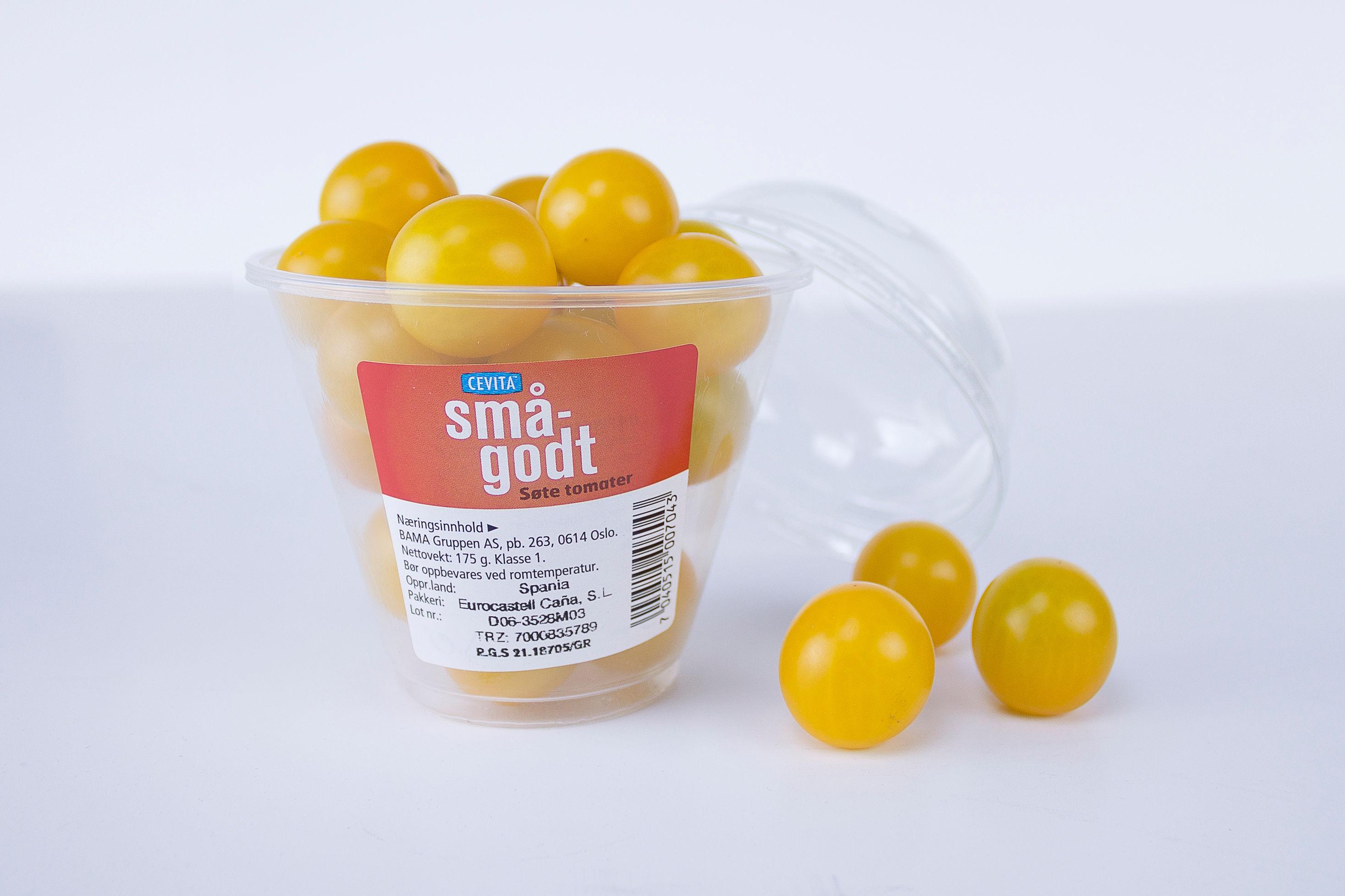NYHET I SUNT SMÅGODT-SERIEN: Søte, gule tomater i praktisk beger