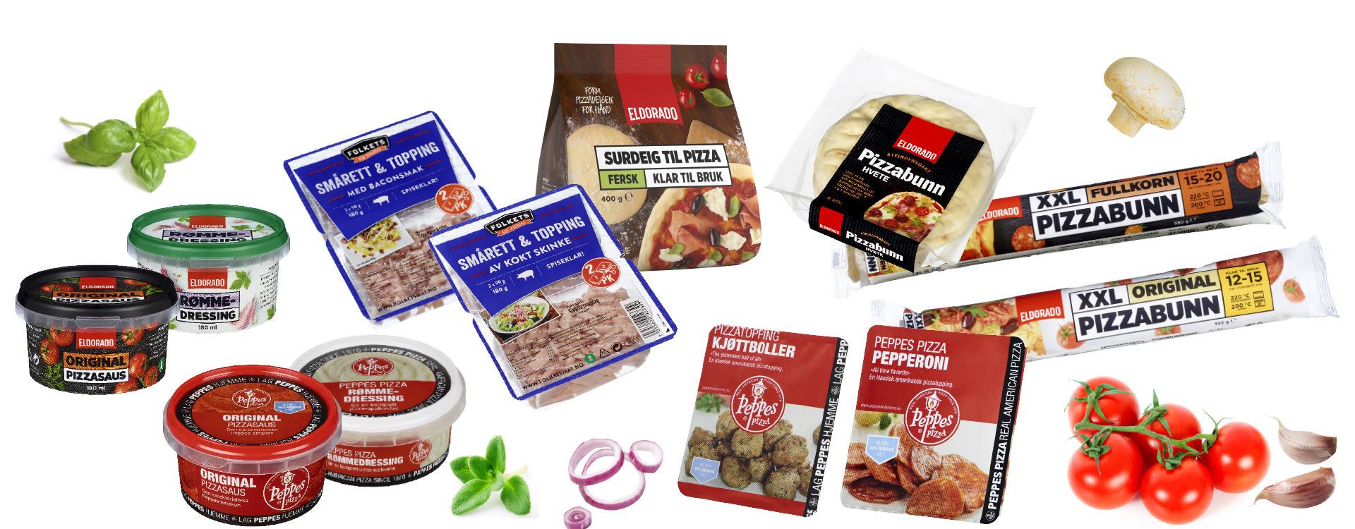 PIZZA HOS KIWI: Her er et utvalg pizza-produkter du finner i din KIWI-butikk.