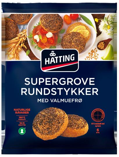 Hatting Supergrove rundstykker med valmuefrø.