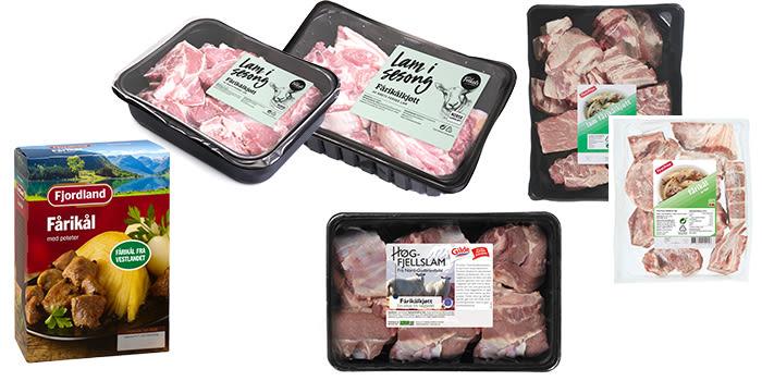Hos KIWI får du fårikål både fra Fjordland, Folkets, Gilde Høgfjellslam og First Price.