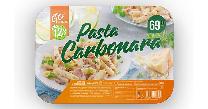 GO'middag 1,2,3 pasta carbonara til 69,90 kr hos KIWI.