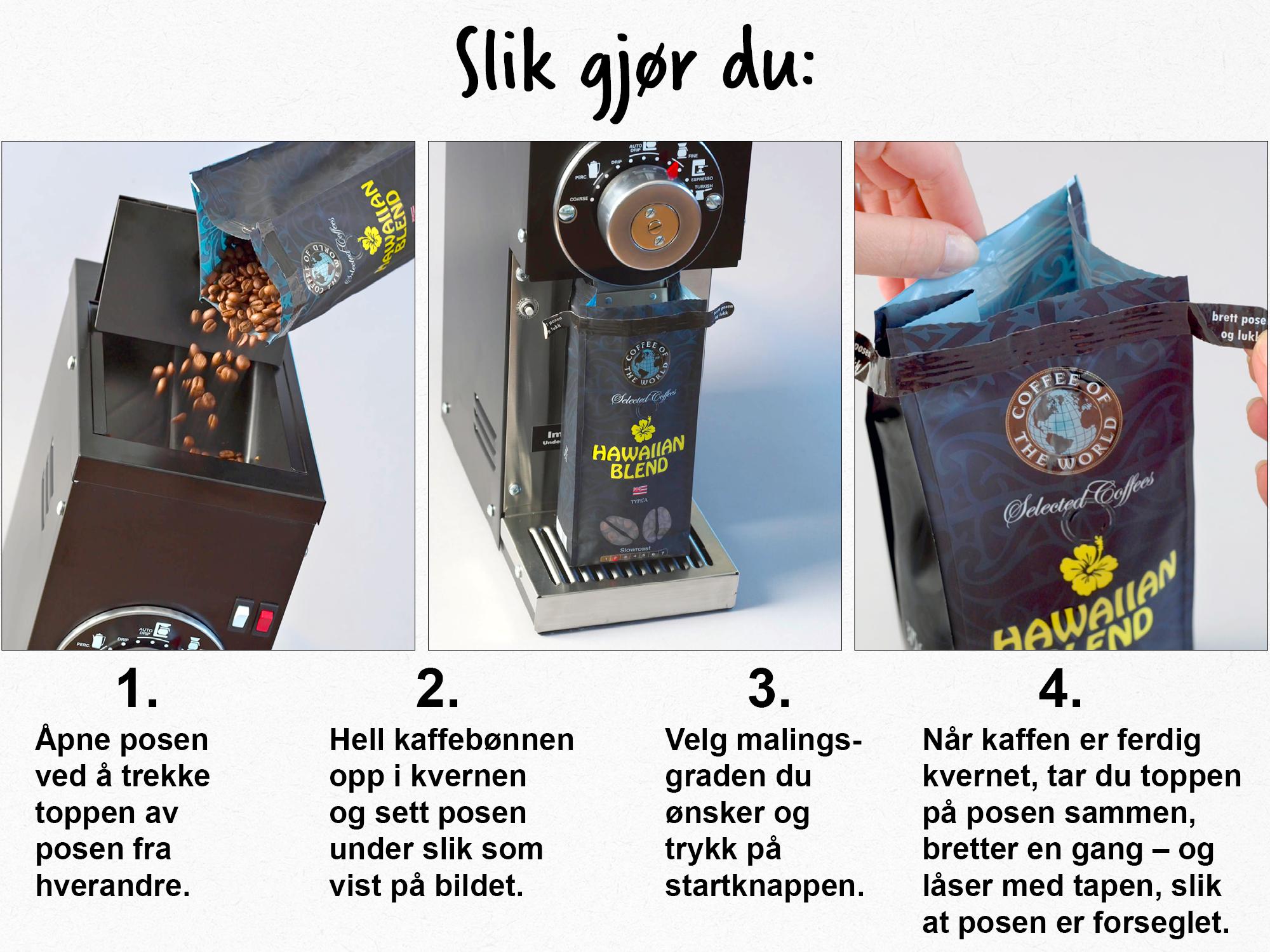kverne kaffebønner uten kvern