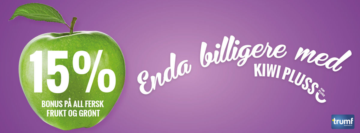 KIWI har doblet frukt og grønt-bonusen til 15%. I tillegg får du 1 % Trumf-bonus på alle andre dagligvarer hver gang du handler.