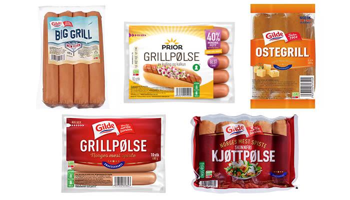 Bildetekst: Alle pølser fra Gilde og Prior lages uten melk. Big Grill er en av sommerens nyheter, der Gilde har hentet inspirasjon til smakene fra USA.