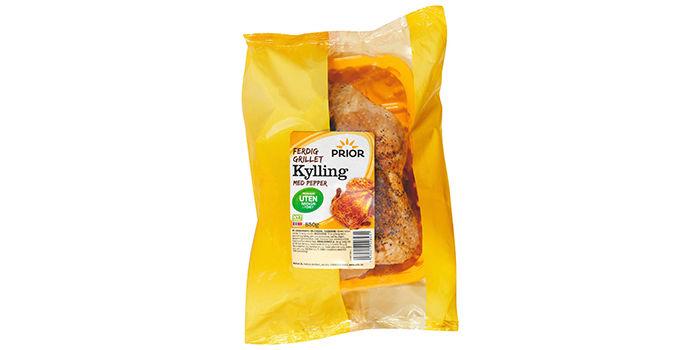 Prior lanserer også en ferdig grillet kylling produsert uten narasin i fôret. Kyllingen er pepret og ferdig til servering.