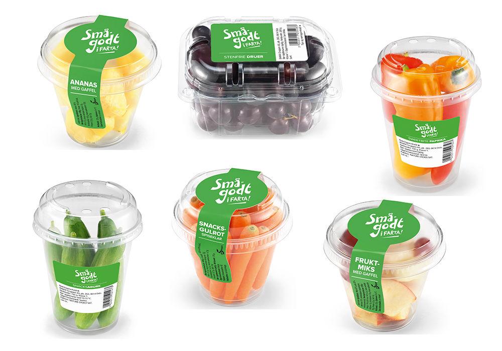 SMÅGODT I FARTA: Ananas med gaffel, steinfrie druer, sweetbite paprika, snacksagurk, snacksgulrot, fruktmiks med gaffel