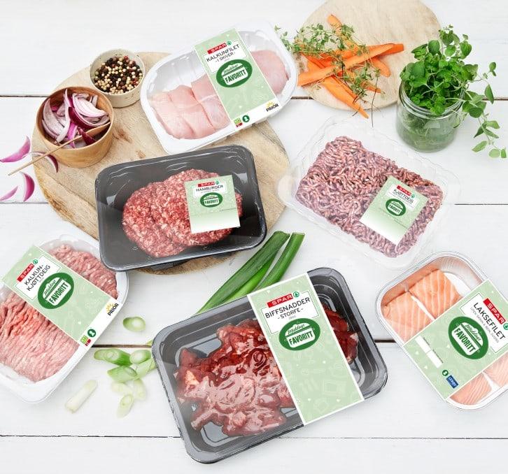 Syv nye produkter merket Middagsfavoritt.