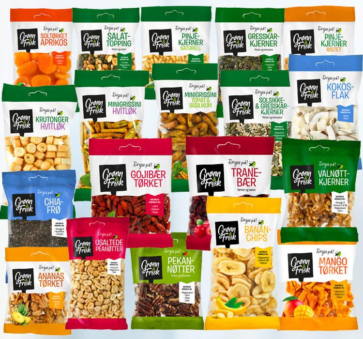 Her er alle Dryss på-produktene fra BAMA. Supert til havregrøt, baking og som topping til de fleste matretter.