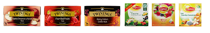 Twinings Apple, cinnamon & raisin, Twinings Four red fruits, Twinings Spicy Indian Chai, Lipton Taste Collection, Lipton Black Tea Forest Fruit, Lipton Black Tea Vanilla Caramel
