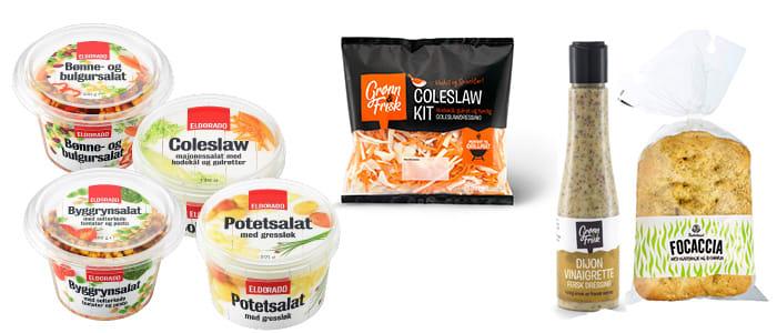 Nyheter: Ferdige salater fra Eldorado, Coleslaw kit fra Bama samt fersk focaccia fra Bakehuset og Dijon vinaigrette.