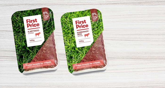 First Price kjøttdeig og karbonadedeig i ny emballasje.