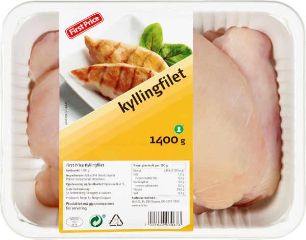 STOR: First Price kommer med en større pakning kyllingfileter, nå i 1400 grams-pakke.