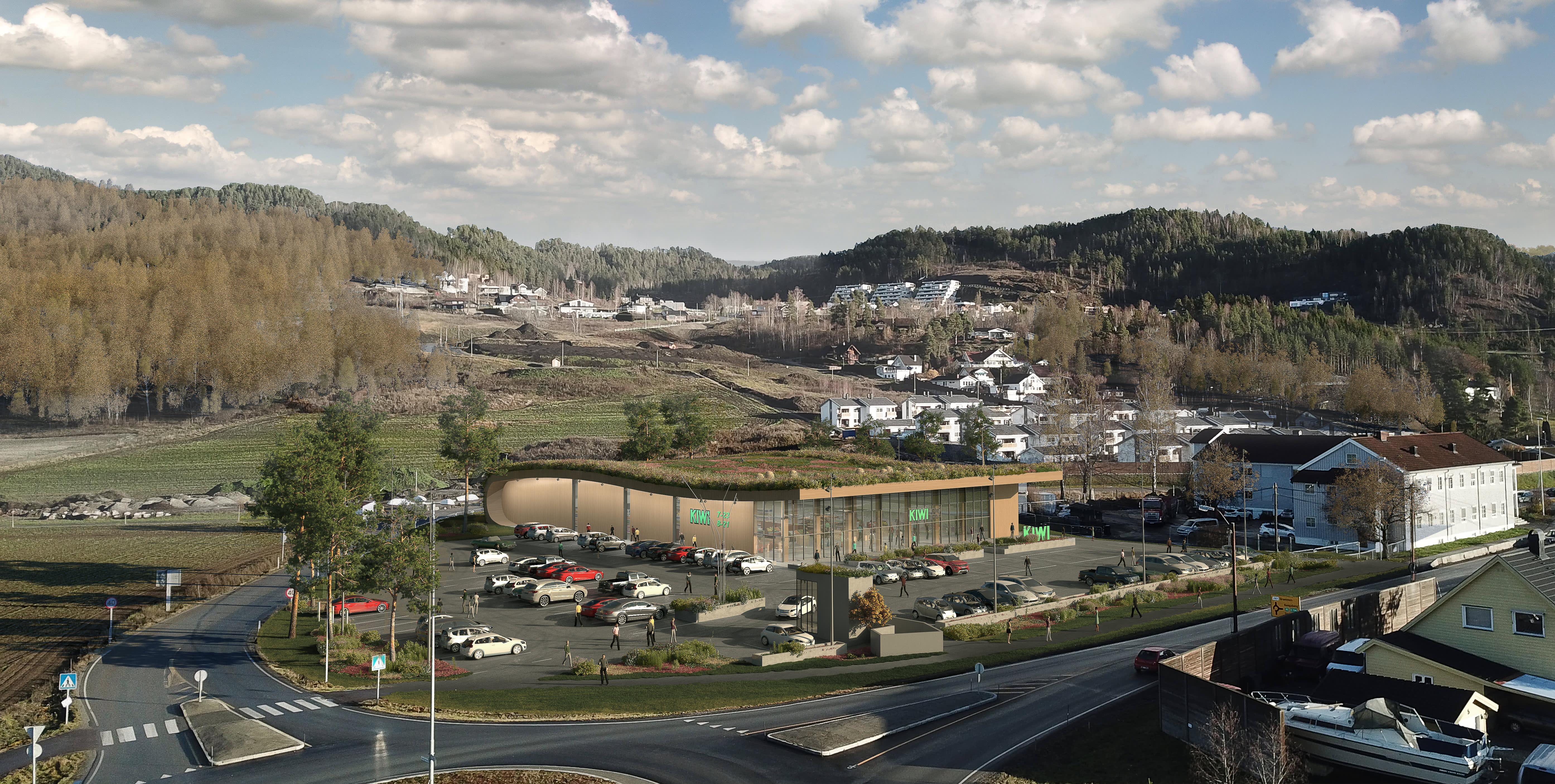 Dette er en illustrasjon av hvordan miljøbutikken KIWI Lerberg som åpner i august 2019 vil bli.