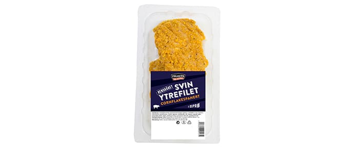 Cornflakespanert svin ytrefilet: Folkets lanserer denne høsten renskåret ytrefilet av svin panert i cornflakes. Sprøtt og godt!