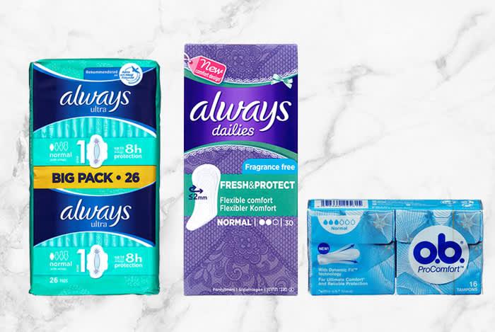 I snitt trenger du 526 pakker bind eller 570 pakker tamponger i løpet av livet.