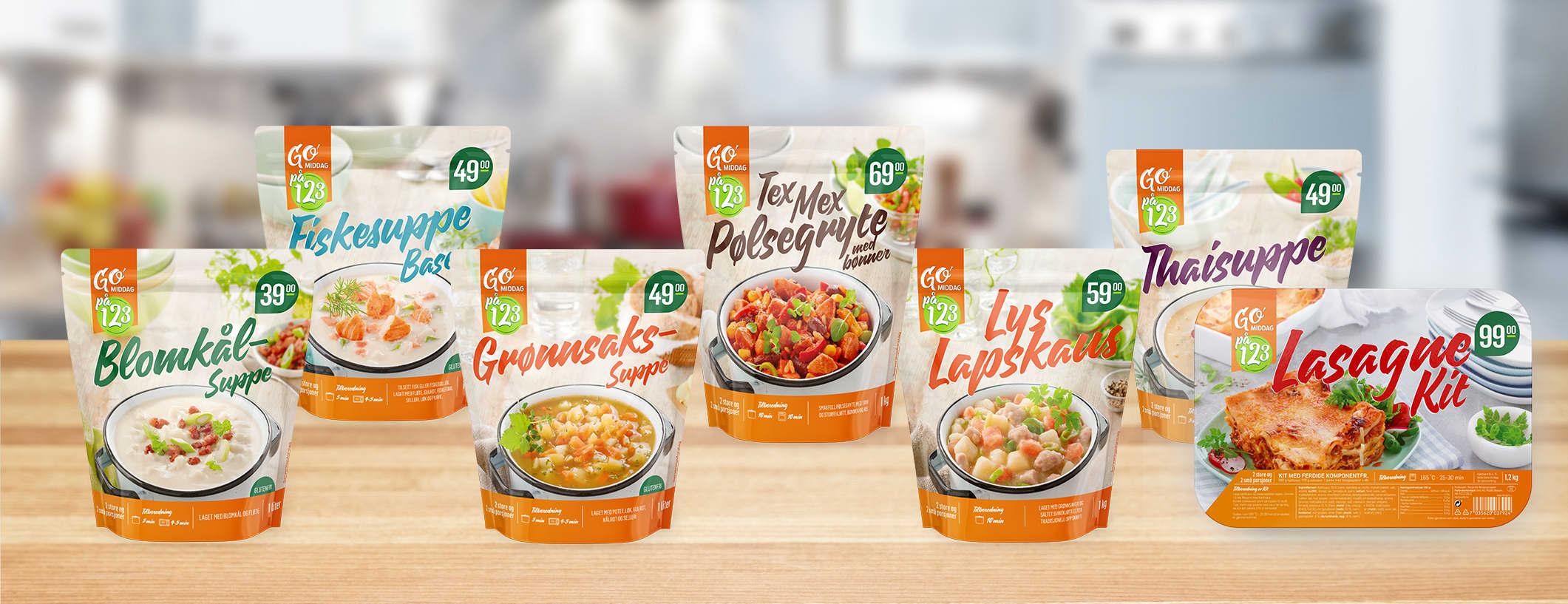 I «GO'middag på 1,2,3» har KIWI gjort jobben for deg, sånn at du kan servere ferdig middag på null komma niks.
