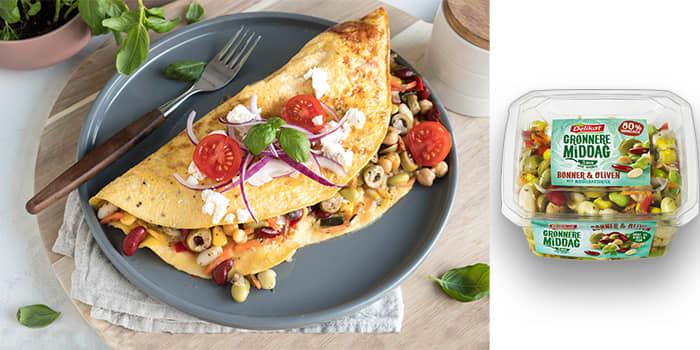 Lag en omelett full av grønnsaker, belgfrukter og gode smaker. Foto: Mills