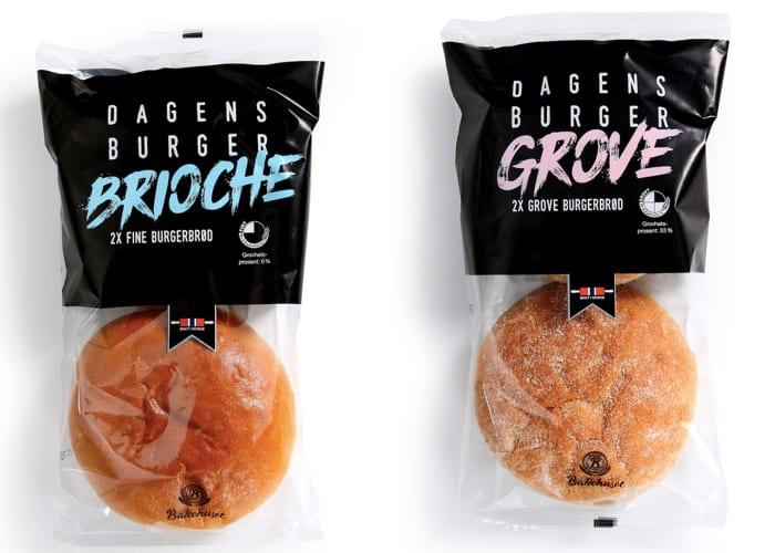 KIWI har flere typer burgerbrød fra Bakehuset. Disse to hører sammen med «Dagens burger»-serien.
