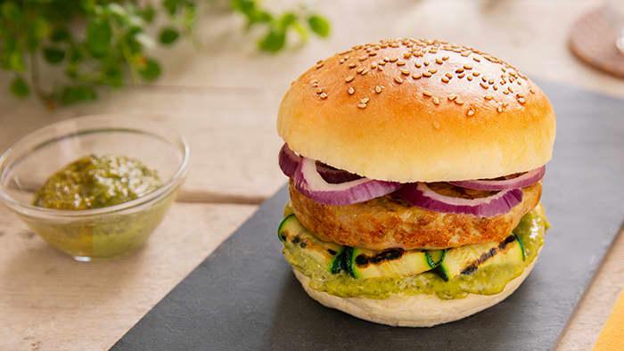 Kyllingburger med pesto. Foto: Barilla