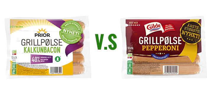 Prior grillpølse med kalkunbacon eller Gilde grillpølse med smak av pepperoni. Hva blir folkets favoritt?