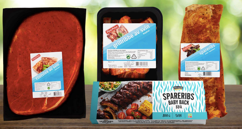 Hos KIWI finner du klassiske grillfavoritter som spareribs, flintstek og grillribbe.