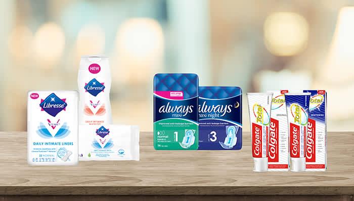 Nyheter fra Libresse er serien V-Care, Always kommer for første gang med Maxi-bind, og Colgate har tannkrem som lover å beskytte hele munnen mot bakterier i 12 timer.