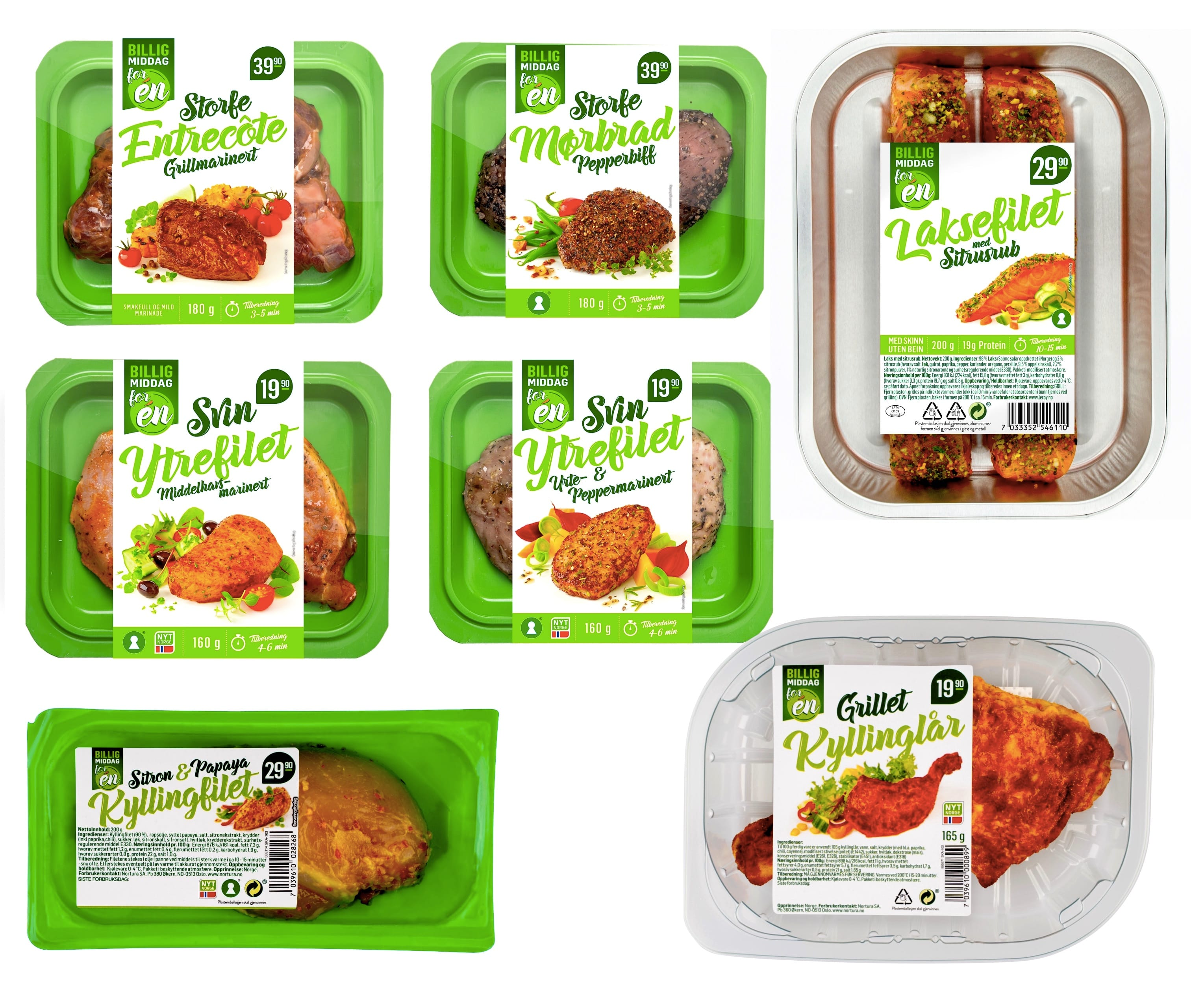 Disse «Billig middag for én»-produktene finner du i din KIWI-butikk.
