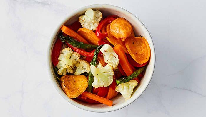 Ovnsbakte grønnsaker passer til alt - også torsk!
