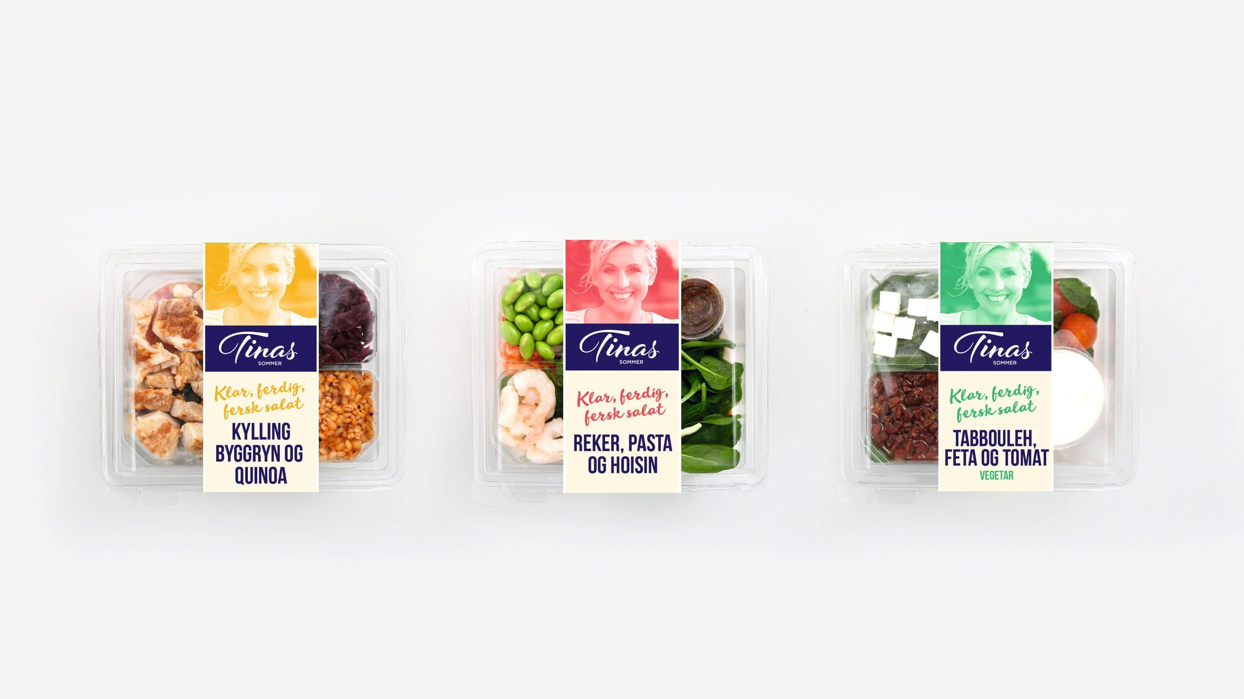 Ferdige salater fra Tinas sommer: Salat med kylling, salat med reker og vegetarsalat