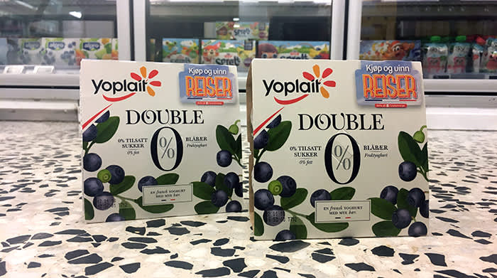 Yoplait Double 0% kommer i flere populære smaker, blant annet blåbær.