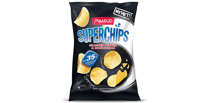 Superchips Cracked Pepper & Sourcream: Nå kommer Maarud med ny smak på sine superchips med 35 prosent mindre fett. Prøv Superchips Cracked Pepper & Sourcream neste gang du får lyst på noe godt.