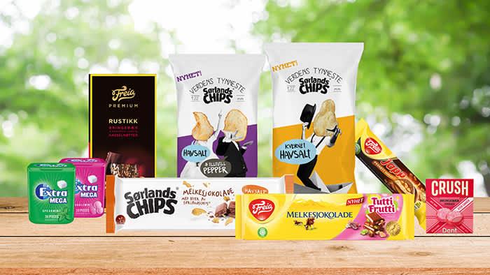 Verdens tynneste Sørlandschips og verdens første melkesjokolade med Sørlandschips inni? Begge deler er nyheter hos KIWI sammen med blant annet Melkesjokolade Tutti Frutti, Dent Crush og Extra Mega tyggegummi.