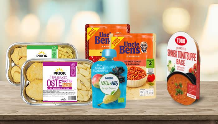 Du finner flere spennende middagsnyheter i KIWI, blant annet middagsretter fra Prior, Uncle Ben's Expressrid, TORO spansk tomatsuppe-base og NaturNes økologisk barnemat.